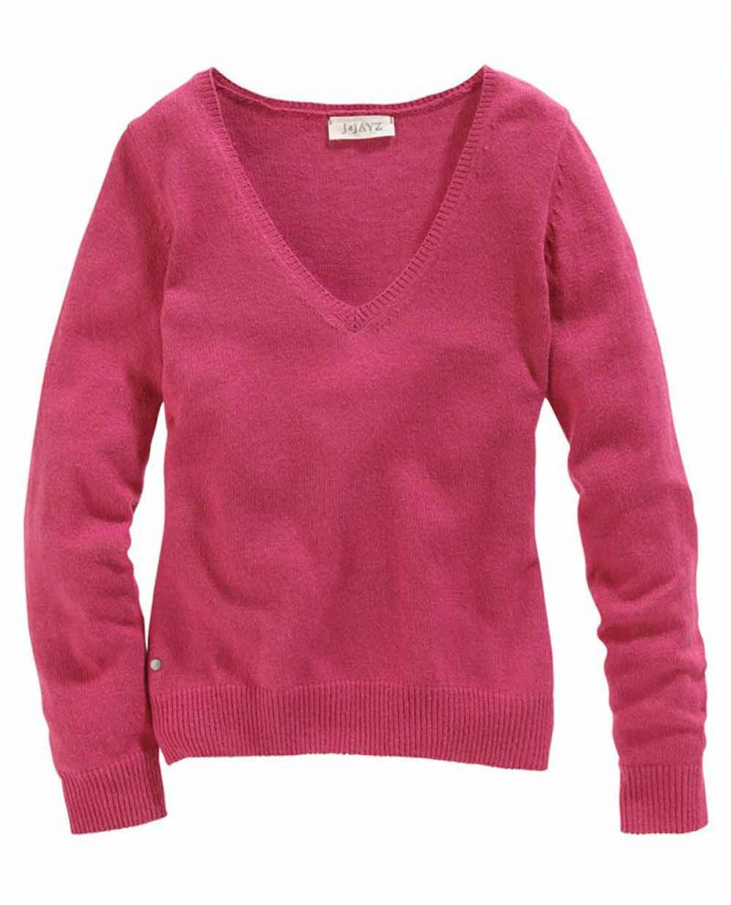 V-Pullover mit Wolle, beere